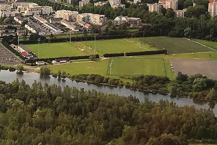 Aerial photo of the football pitch